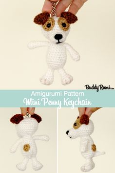 Written crochet pattern and step by step tutorials with pictures. Dog Keychain, Knit Crochet, Crochet Hats, Mini Dogs, Crochet Keychain, Plush Animals, Step By Step Instructions, Plushies, Key Rings