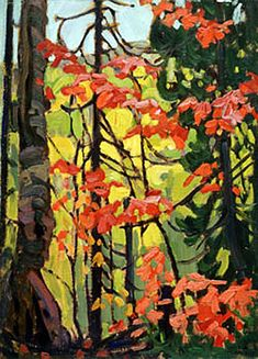 'Red Maples' by Lawren Stewart Harris ~ a Canadian painter (Ontario) best known as a member the Group of Seven who pioneered a distinctly Canadian painting style in the early century. Tom Thomson, Emily Carr, Group Of Seven Artists, Group Of Seven Paintings, Canadian Painters, Canadian Artists, Abstract Landscape, Landscape Paintings, Collage Landscape