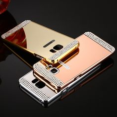 Rhinestone Bling Diamond Mirror PC Cover Metal Aluminum Hard Case For Samsung Galaxy A3 A5 A7 A8 J3 J5 J7 S5 S6 S7 Grand Prime