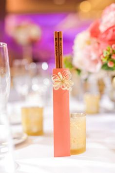 Creative wedding favor idea - engraved chopsticks {Vanessa Joy Photography}