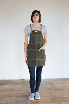 Womens Olive Waxed Canvas Artisan Apron w/ Saddle by ArtifactBags: NOTE-I DON'T WANT THIS ONE OR ONE IN WAXED CANVAS AND LEATHER. I just like the pattern/style of it, and think something like it would work in the kitchen.