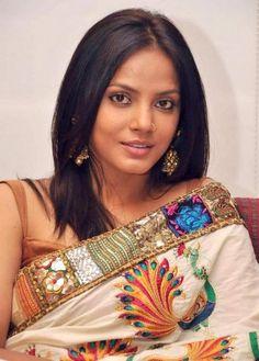 Neetu Chandra   hand embroidered saree    designer saree