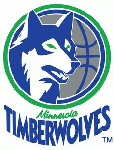 Minnesota Timberwolves Primary Logo (1990) - A blue timberwolf head with green eyes on a silver basketball with blue and green trim