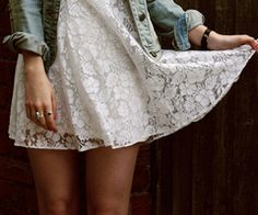 lace dress and jean jacket