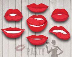 Labios de fiesta Digital Clip Art para apoyos de por SollaDesign