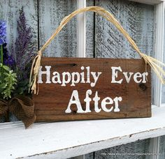 HAPPILY EVER AFTER Sign 5 1/2 x 11 Rustic Wood por reasons2remember, $14.95