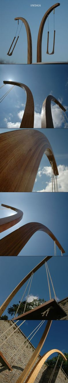 outdoor sculpture swing timber
