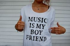 Music is my Boyfriend Tee on LoLoBu. Forever Alone lvl: Music Nerdd Just In Case, Just For You, Looks Style, My Style, Funky Style, Sweet Style, Daddy, Just Dream, Dream Guy