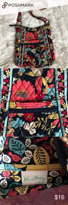 Vera Bradley crossbody bag Vera Bradley crossbody bag. Outside front pocket as well as a zip pocket on the front and back for extra storage. Adjustable strap. Length is 11 inches and width is 10 inches. Vera Bradley Bags Crossbody Bags