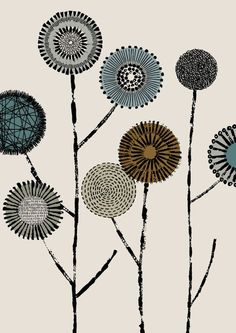 flower patterns. Great idea for visual texture lesson and repeated patterns. Could even use for print making lesson using found objects.