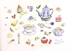 Tea Time Watercolor 0 6  j a n 1 4