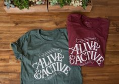 Alive & Active Unisex Jersey Short Sleeve Tee, Screen Printed by hand!  + Fit: Unisex Adults + Colors: Heather Forest and Heather Cardinal + Fabrication: Heather colors 52% combed and ring-spun cotton 48% poly + Printing Production: Screen Printed in USA + Quotes/Graphic: Hand-lettered bible verse, Hebrews 4:12, The word of God is Alive and Active—visit our blog at Logogramm.com to see the process and stories behind the scenes.  * Free shipping for US resident. * Contact us for order...