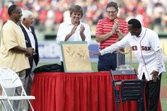 Jim Rice, Yaz, Eck, & Fisk present Pedro with a cast of his hands; Pedro Martinez's Red Sox Number Retirement A Treat For Boston | Photo Gallery | NESN.com