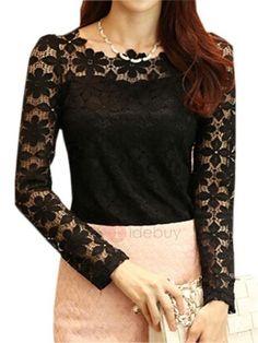 TideBuy - TideBuy Special Lace Sleeves Slim Work T-Shirt - AdoreWe.com