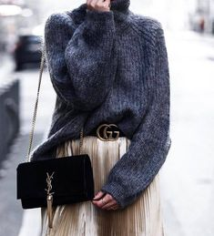 Sweater: tumblr oversized oversized grey turtleneck turtleneck bag black bag ysl ysl bag skirt