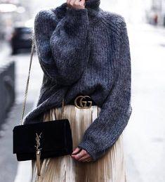 Sweater: tumblr oversized oversized grey turtleneck turtleneck bag black bag ysl ysl bag skirt