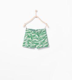Jacquard Leaf Pattern Shorts from Zara Girls