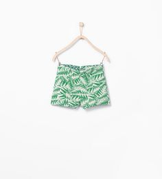 Jacquard Leaf Pattern Shorts from Zara Girls