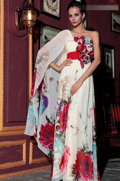 Aラインイブニングドレスワンショルダー花飾り床まで届く長さ