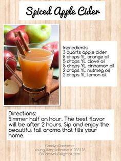 Spiced Apple Cider with Young Living Essential Oils Apple Cidar, Apple Cider Drink, Spiced Apple Cider, Young Living Oils, Young Living Essential Oils, Holiday Recipes, Holiday Ideas, Nutmeg Oil, Easential Oils