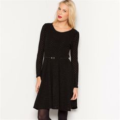 La Redoute Long-Sleeved Dress with Patent Belt