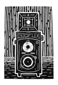"""""""BioFlex TLR Camera"""" Linocut Print by Andrea Dixon #linocut"""