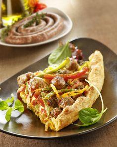 Tarte aux chipolatas supérieures  #Cuisine #Recette #Viande #Meat #Porc #Pork #Tarte #Saucisse #Chipolata #Poivron #Oeuf #Creme #Echalote #Socopa