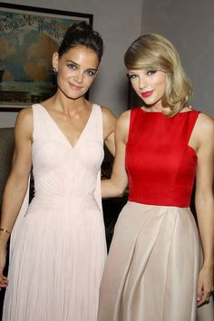 Katie Holmes and Taylor Swift at The Giver premiere