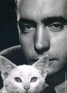 "Playwright Edward Albee and Friend Uncredited and Undated Photograph ""If you have no wounds, how can you know if you're alive?"" Edward Albee, ""The Play About the Baby"" 1998 Edward Albee - - Ave atque Vale Edward Albee, Celebrities With Cats, Celebs, Men With Cats, Philippe Halsman, International Cat Day, Cat People, Actors, Crazy Cats"