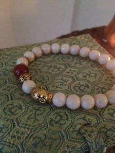 SALE Buddha Head Bracelet  White Riverstone with by TheArtsyNomad, $19.99