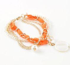 Orange Ribbon Chain Pearl Strand Charm Bracelet