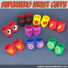 Superhero Wristband/ wristcuffs/ armbands This listing is for 1 Superhero Wristband set/ wristcuffs/ armbands Made of premium quality double sided felt. One size only, these fit most 6th Birthday Parties, Girl Birthday, Anniversaire Wonder Woman, Adult Camping Party, Girl Superhero Party, Girl Superhero Costumes, Superhero Capes, Avengers Birthday, Super Hero Costumes