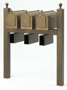 Whitehall Mailbox Multi Units Double, Triple, and Quad Mailboxes Diy Mailbox, Mailbox Ideas, Apartment Mailboxes, Residential Mailboxes, Mailbox Makeover, Mailbox Landscaping, Whitehall Products, Mounted Mailbox, Courtyards