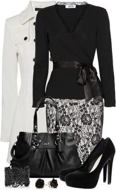 Coat: Jane Norman White Fitted Flare, Top: Moschino Cheap & Chic lace-trimmed stretch crepe wrap, Blk Mango lace pencil skirt, Ashley leather carry all handbag, Shoes: H&M, Bracelet: Oasis Matt Lace ~ via Fashion Wife