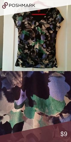 Top, sheer sleeves. Nylon and polyester top with shades of black, grey, blue, and green 212 Collection Tops