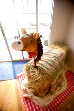 Hay bale horse for a Barnyard birthday party. party-ideas