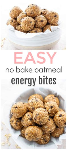 Looking for a healthy and portable snack? These No-Bake Oatmeal Energy Bites take minimal time to prepare and are perfect for snacking on throughout the week! A great make-ahead option that also happens to be freezer-friendly! Healthy Protein Snacks, Healthy Bars, Healthy Cookies, Healthy Breakfasts, Eating Healthy, Healthy Living, Clean Eating, Healthy Food, Peanut Butter Protein Bars