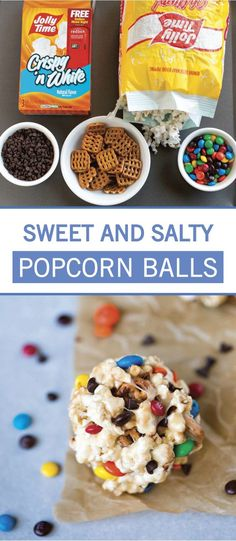 This recipe for Sweet and Salty Popcorn Balls has everything you look for in a family-friendly dessert! You simply can't go wrong with marshmallow, pretzels, M&M's, and chocolate chips for sweet treat. Yummy Treats, Sweet Treats, Yummy Food, Yummy Recipes, Tasty, White Chocolate Pretzels, Mini Chocolate Chips, Game Day Snacks, Easy Snacks