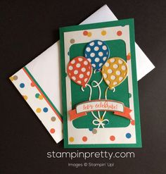 Let's Party with NEW Balloon Adventures Stamp Set! (Mary Fish, Stampin' Pretty The Art of Simple & Pretty Cards) Kids Birthday Cards, Handmade Birthday Cards, Birthday Wishes, Birthday Ideas, Up Balloons, Birthday Balloons, Pretty Cards, Cute Cards, Card Making Inspiration