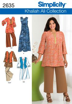2635Plus Size Sportswear Plus Size & Plus Size Petite Khaliah Ali Collection dress, tunic, vest & pants sewing pattern. (Size FF 18W-24W)