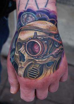 biomechanical skull tattoo on hand - http://tattooswall.com/biomechanical-skull-tattoo-on-hand.html #biomech tattoos, biomechanical, hand, on, skull, tattoo