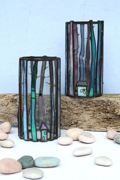 Stained Glass Candle Jar 'Winter Forest' by mbGlassArt on Etsy, £34.00
