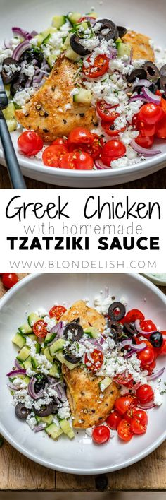This Greek chicken with tzatziki sauce takes just 20 min to make. It's a super tasty and easy Greek chicken recipe and it's also a great Keto recipe Mediterranean Diet Recipes, Mediterranean Dishes, Clean Eating, Healthy Eating, Healthy Dinner Recipes, Cooking Recipes, Supper Recipes, Homemade Tzatziki Sauce, Greek Chicken