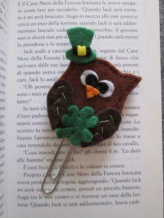 Irish Owl - Planner clip - Planner accessories - St Patrick's day - - Gift for readers - Felt bookmark - Segnalibro / grafetta con Gufo irlandese  Regalo di TinyFeltHeart