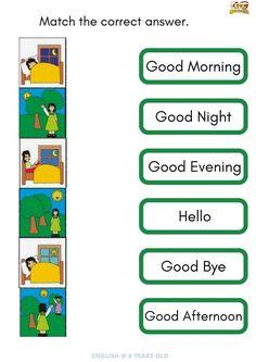 English : Greetings (6 years old) worksheet