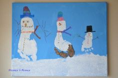 Snowman footprint craft--with sparkles! Perfect Christmas gift for Grandma.