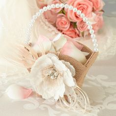 Burlap and Lace Flower Basket. Carry flower petals down the aisle in this unique burlap and lace flower basket. #wedding #accessory