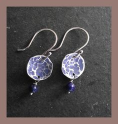 Sterling Silver & Lapis Lazuli disc earrings by abyjem, Etsy.