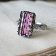 Sterling Silver Gothic Ring Rectangle Aubergine Purple Crystal