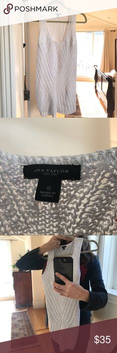 Like-New Ann Taylor Sleeveless Sweater Beautiful white sleeveless sweater with a medium-gauge knit. Like new! Only worn once. It's a great top, just too cool a white for my skin tone. Excellent condition!  Offers welcome! Ann Taylor Tops Tank Tops